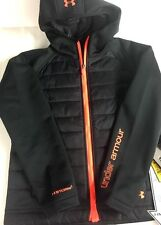 Under Armour Storm 1 Hooded Black Magzip Cold Gear Infrared Jacket Girls Sz YLG