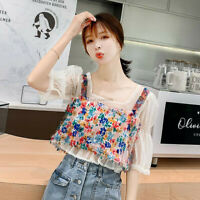 New Two Piece Set Summer Women Short Sleeve Chiffon Shirt Blouse Floral Vest Top
