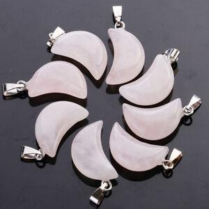 30pcs Charms natural quartz agate crystal moon stone necklace pendant