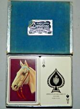 Vintage Arrco Duratone Pinochle Playing Cards 2 Decks Horse On Back With Case