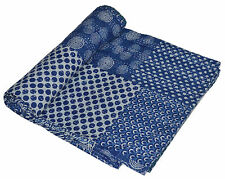 Indian Handmade Vintage Kantha Quilt Blanket Double King Size Bedspreads Throw 5