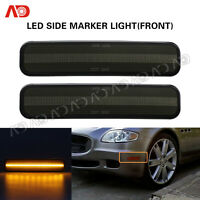 Front Amber For Maserati Quattroporte 04-09 LED Side Marker Light Lamp Smoked 2X