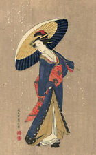 Japan,Geisha,Beautiful Geisha with Umbrella,Blue Kimono,c.1901-06