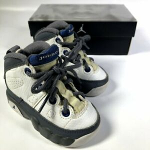 Baby Jordan 302354-141 Grey White Leather Hi-Top Basketball Shoes Kid Boys 3C