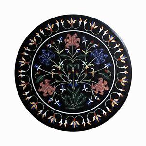 "36"" Black Marble Coffee Table Top Pietra dura Inlay Work Art Home Decor"