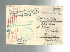 1942 Lengyel Hungary Tabor Internment Camp Censored Postcard Cover to Poland