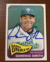 DOMINIC SMITH 2014 TOPPS HERITAGE AUTOGRAPHED SIGNED AUTO BASEBALL CARD 107 METS