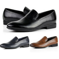 Mens Smart Brogue Slip On Leather Shoes Casual Loafers Office Work Designer Size