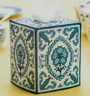 BLUE WILLOW TISSUE BOX COVER HOME DECOR PLASTIC CANVAS PATTERN INSTRUCTIONS