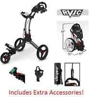 EXTRAS! Rovic RV1C Clicgear Compact 3 Wheel Golf Push Cart Charcoal/Black Pull