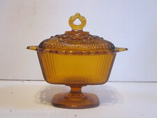 VINTAGE PRESSED AMBER GLASS PEDESTAL COVERED CANDY DISH RIBBED & LOOP DESIGN