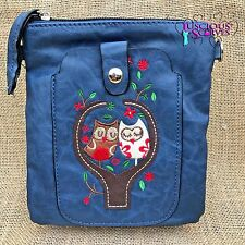 Navy Owl Small Bag with Smart Phone Spectacle Holder Long Cross Body Strap