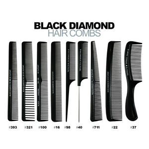 BLACK DIAMOND Hair Combs - Anti-static & Heat/Chemical Resistant - CHOOSE SIZE