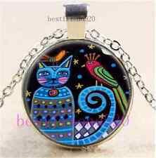 Cat And Bird Photo Cabochon Glass Tibet Silver Chain Pendant Necklace