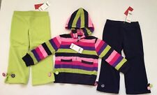 NWT Gymboree Candy Shoppe 3 3T Fleece Stripe Hoodie with Lime Green & Navy Pants