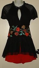 Day of the Dead Reversible Corset Belt Velvet Black Embroidered / Red Leather