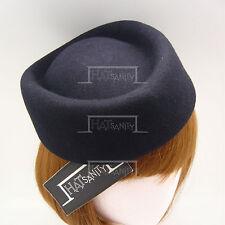 Wool Felt Women Pillbox Hat Ladies Fascinator | Navy | Round | VINTAGE x FORMAL
