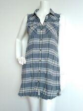 ALL SAINTS Belgique Gilet mini shirt dress long shirt size 10 -MINT--blue cotton