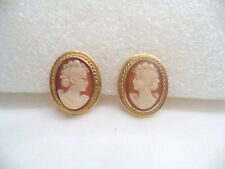Vintage Carved Shell Cameo Earrings, Detailed,12K Yellow Gold Filled, Screw Back