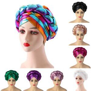 African Women's Glitter Braid Turban Caps India Nigerian Multicolor Headwear Hat