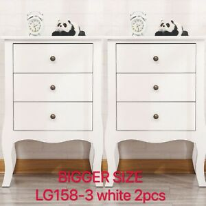 Hard Wood Strong Bedside Cabinet 2/3 Drawer W/Wout Locking Bedroom Furniture