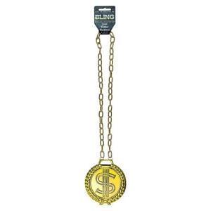 Gold Dollar Sign Necklace Chain Bling Francy Dress Gangster Pimp Rapper Hip Hop