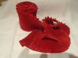 "3"" FORTUNY STYLE PLEATED RAYON MOIRE' RIBBON-BTY STRETCHED-  RED"