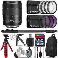 Canon 18-135mm IS USM + MACRO, UV-CPL-FLD Filter + Monopad - 32GB Accessory Kit
