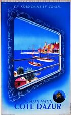 VINTAGE TRAVEL POSTER ART PRINT - DEMAIN MATIN COTE D'AZUR by R. Hugon 27.5x39.5