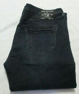 True Religion Dark Miner Moto Rocco SN Relaxed Skinny Fit Men's Jeans Size W44