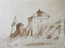 Château fort ruine Moyen âge Archéologie fortification médiévale lavis d'encre