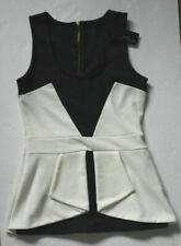 Jane Norman Black & White Textured Peplum Top Size 12 - NEW with TAGS