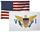 2x3 USA American & US Virgin Islands 2 Pack Flag Wholesale Set Combo 2'x3'