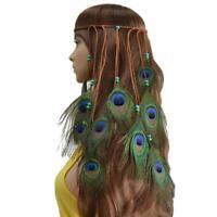 Paon Plumes Perles Bandeau de Cheveux Bandeau à Femme Headband Serre-tête