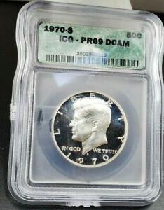 1970 S Kennedy Silver HALF DOLLAR ICG PR69 DCAM Deep Cameo Proof Gem