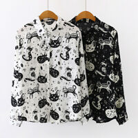 Women's Cat Printed Long Sleeve Loose Tops T-Shirt Button Down Casual OL Blouse