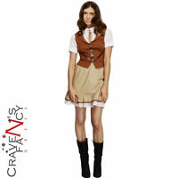 Adult Fever Sheriff Costume Ladies Wild West Cowboy Fancy Dress Outfit New