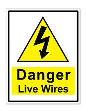 A4 Auto Adhesivo de advertencia de peligro en vivo cables Pegatinas signos de seguridad del negocio