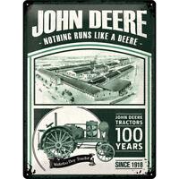 John Deere 100 Ans Edition Limitée Plaque Étain Signer 3D en Relief 30 X 40 CM