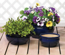 "3 pc size bulk lot CERAMIC Cobalt BLUE 11"" 9"" 7"" Flower Plant Planter Pot garden"