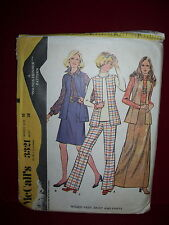 1972 McCALL'S #3321-LADIES BUTTONLESS VEST - TWO LENGTH SKIRT & PANTS PATTERN 16