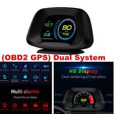 Car GPS OBD2 HUD Head Up Display Speedometer Alarm Oil Water Temp Gauge Monitor