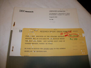 IBM research Notes, Reports, Abstracts - a bunch of stuff!
