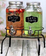 Estilo 1 Gallon Glass Mason Jar Double Drink Dispenser with Leak Free Spigot On