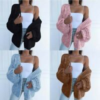Casual Ladies  Sleeve Women Coat Knitted Sweater Front  Open  Puff Cardigan