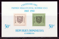 DOMINICAN REP 1965 CENTENNIAL OF FIRST DOMINICAN STAMP S/S OF 2 SCOTT 617A