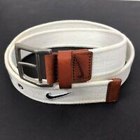 Nike Golf Men's 36 White Cotton Woven Knit Belt Leather