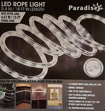 Paradise White LED Rope Light 18ft Indoor Outdoor Decoration Extendable