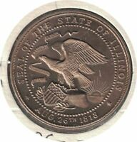1818-1968 ILLINOIS SESQUICENTENNIAL MEDAL W/ STAMP