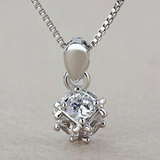 Women 925 Sterling Silver Plated Cube Ball Crystal Choker Pendant Necklace
